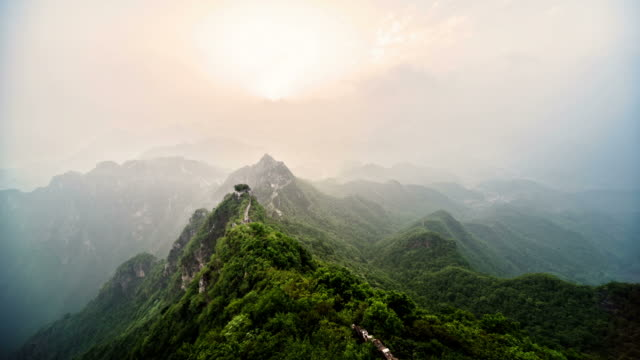 The Great Wall of China sunset timelapse video