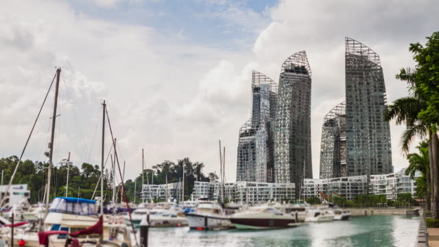 4K TIME LAPSE (4096x2160) : The harbor and building at Singarpore  (Apple ProRes 422(HQ) format). video