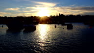 The harbor from Lagos in Portugal with twilight video