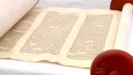 The hebrew Torah, displayed here on a synagogue 5 SEPTEMBER 2016 video