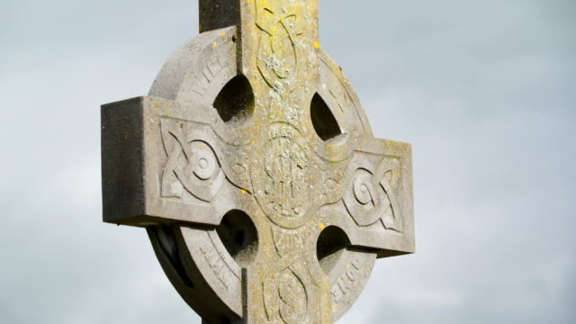 The high cross on the tombstone  in Ireland video