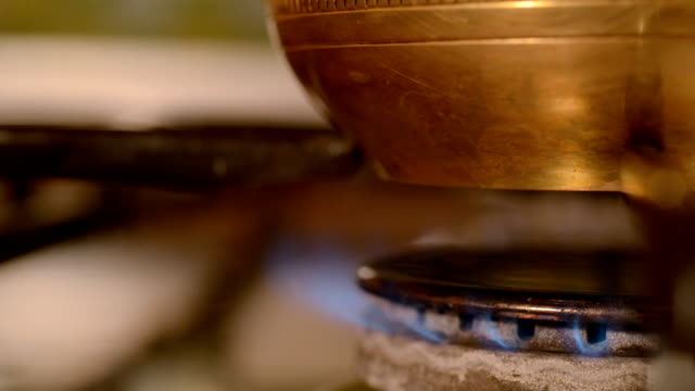 The home coffee in stove. video