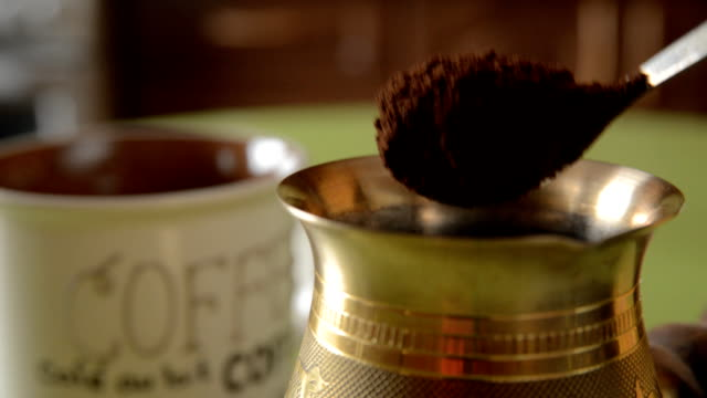 The home coffee in table. video
