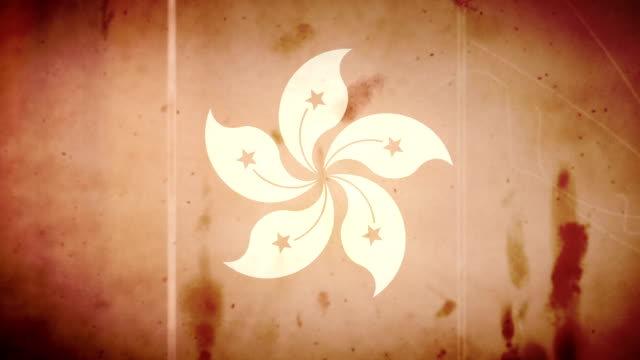 The Hong Kong Flag - Grungy Old Film Loop video