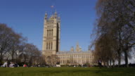 The Houses of Parliament, UK. Victoria Tower Gardens video