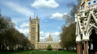 The Houses of Parliament, UK. Victoria Tower Gardens. Zoom in. video