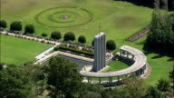 the Huguenot Monument  - Aerial View - Western Cape,  Cape Winelands District Municipality,  Stellenbosch,  South Africa video