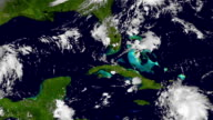 The Hurricane Matthew, satellite view, animation. High speed time lapse. video