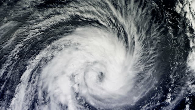 The hurricane over the ocean., satellite view. video