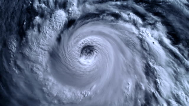 The hurricane storm with lightning over the ocean., satellite view. video