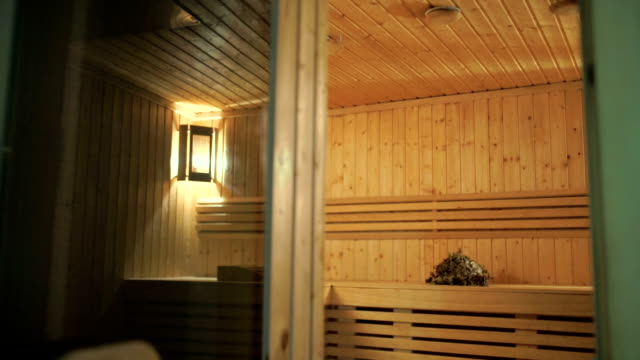 The interior of a wooden sauna video