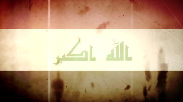 The Iraqi Flag - Grungy Retro Old Film Loop video