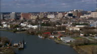 the Kalmar Nyckel Sailing Ship  - Aerial View - Delaware,  New Castle County,  United States video