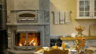 The kitchen, in the kitchen there is a fireplace-stove and a samovar video