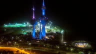 The Kuwait Towers night timelapse - the best known landmark of Kuwait City. Kuwait, Middle East video