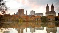 The Lake at Central Park in Autumn video