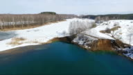 The lake in the spring from the height of bird flight video
