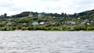The landscape behind the river boat, the Volga region, Russia video