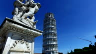 The Leaning Tower of Pisa, with Statue in front video
