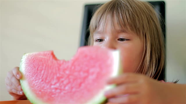 The little girl with watermelon video