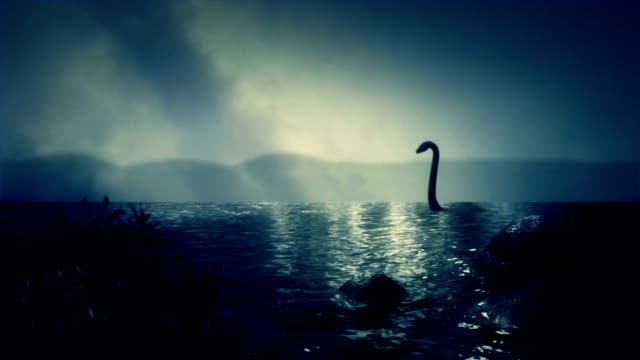 The Loch Ness Monster Swimming in the Lake video