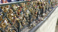 The love locks bridge in front of the cathedral video