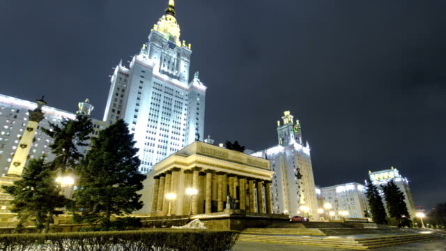 The Main Building Of Moscow State University On Sparrow Hills At Winter timelapse hyperlapse at Night video