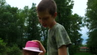 The manifestation of children's emotions. Teen boy and girl child having fun. video