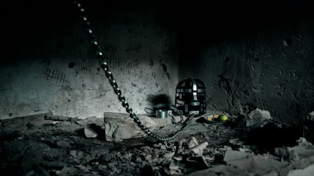 the mask and the shackles of a prisoner waiting for the next victim video
