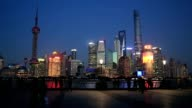 The modern district of Pudong skyline at night, Shanghai, China video
