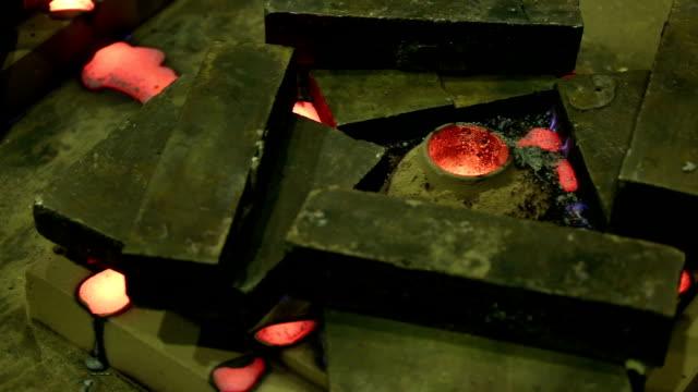 The molten metal cools down in the mold video