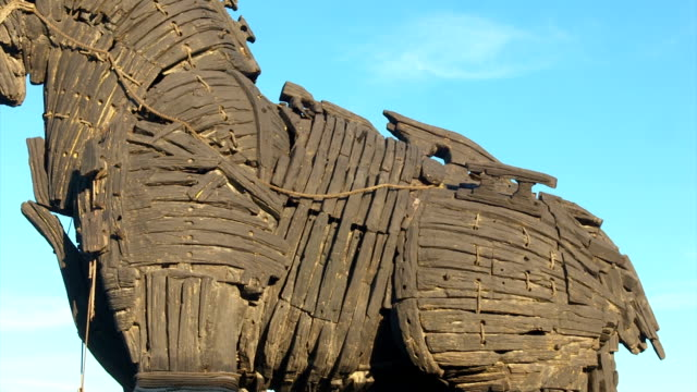 The monument of wooden trojan horse in the city center of Canakkale. video