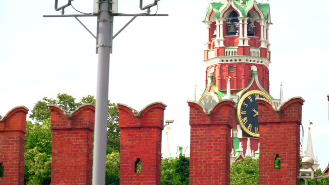 The Moscow Kremlin wall and famous Spasskaya tower clock telephoto lens dolly shot video