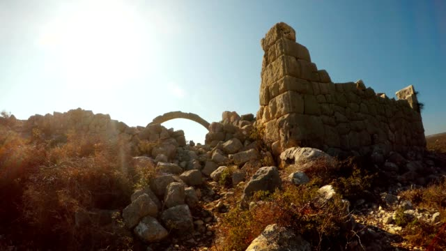 The most extant build with polygonal laying and arches among ruins Adamkayalar Mersin province Turkey video