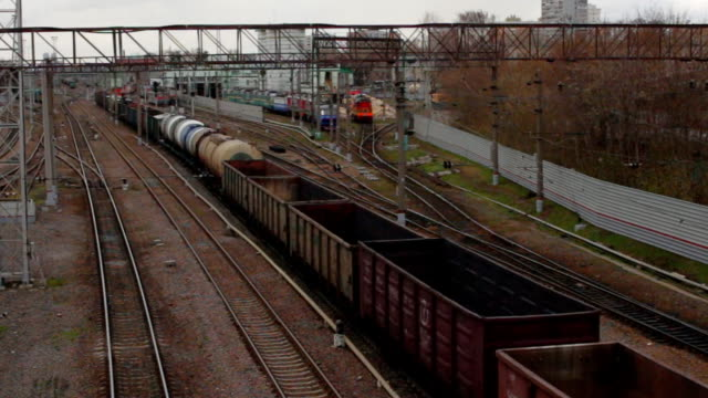 the movement of freight trains through a railway junction video
