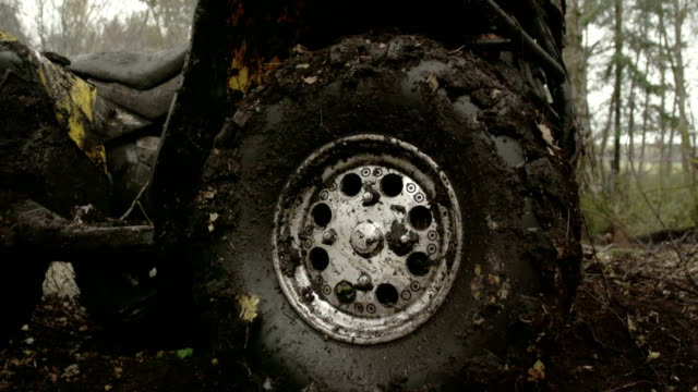 The muddy left wheel of the offroad vehicle video