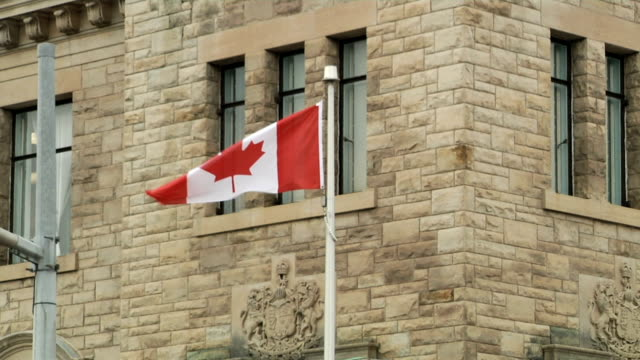 The National Flag of Canada on building background video
