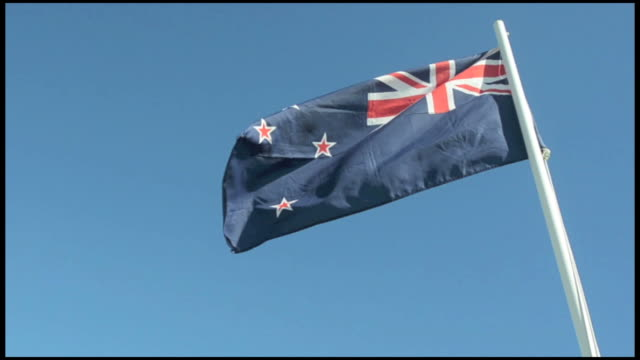 The National flag of New Zealand against blue sky. video