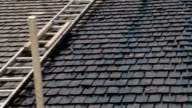 The newly cosntructed rooftop with wooden oil tarred shingles FS700 Odyssey 7Q 4K video