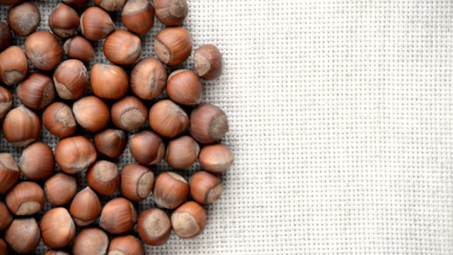 The nut hazelnut rotates on the turntable. video