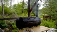 The old grilling pan making some barbecue video
