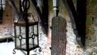 The old lamp inside the big old castle in Trakai video