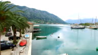 The Old Town of Kotor. Flying over the city. Aerial survey by a video
