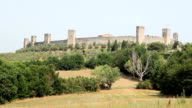 The old town of Monteriggioni, Tuscany, with fields and landscape video