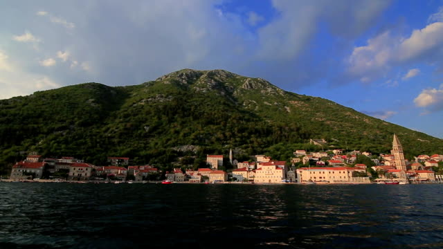 The old town of Perast on the shore of Kotor Bay, Montenegro. Th video