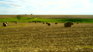 The panoramic view of the harvested fields in Iowa, USA video