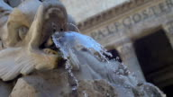 The Pantheon with Fountain in Rome, Italy. Slowmotion video