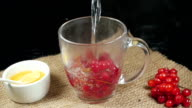 The process of pouring water into a cup with viburnum video