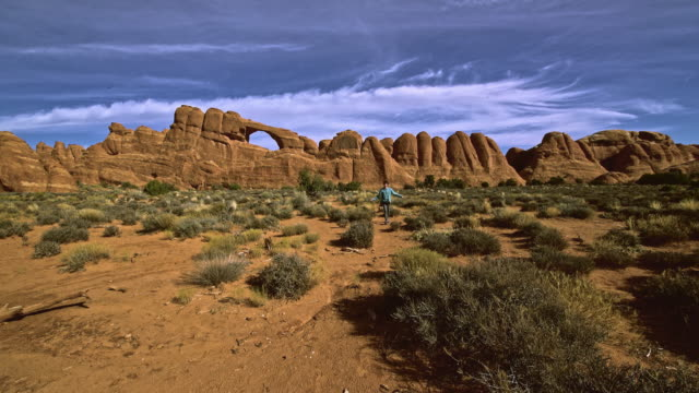 The remote view to the Skyline arch. Devils Garden, Arches national park, Utah. video