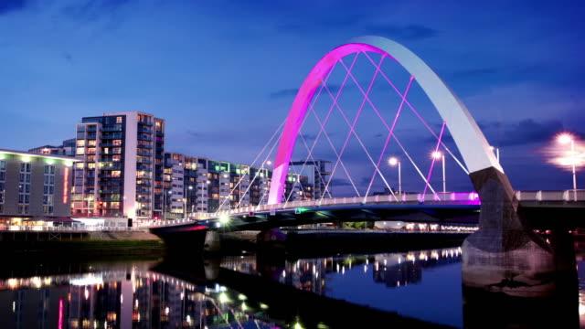 The River Clyde Arc Bridge at Dusk, Glasgow, Scotland video